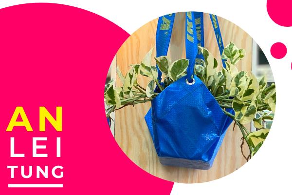 UPCYCLING-Blumenampel aus Frakta-Tasche